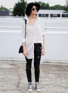 Street Style Calça de Couro Tênis com Camisa