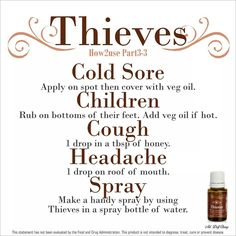 Young Living Thieves essential oil blend for sore throat, breathing discomfort, breath freshener, germ protection, and diffusing for germ protection Thieves Essential Oil, Essential Oil Uses, Natural Essential Oils, Natural Oils, Natural Products, Au Natural, Natural Health, Young Living Thieves, Young Living Oils