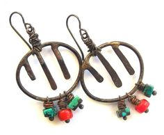 Tribal Earrings Rustic Earrings Copper Hoops by SheFliesAgain