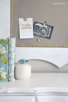 30 day living room makeover at iheartnaptime.com... love this DIY fabric cork board. #DIY #homedecor