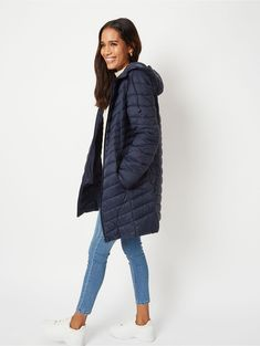 Navy Lightweight Padded Longline Coat | Women | George Winter Coats, Winter Jackets, Coats For Women, Jackets For Women, Asda, Padded Jacket, Lightweight Jacket, Long A Line, Navy