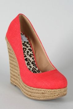 Coral Linen Wedge