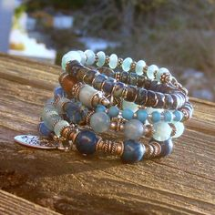 Blue Agate Tree of Life  Memory Wire Bracelets by BlooMoonJewelry,