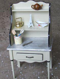 Dollhouse Kitchen Table hutch Miniature by MiniaturesbyLorraine
