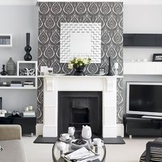 graphic look in black and white accent wall