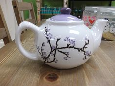 purple cherry blossome teapot