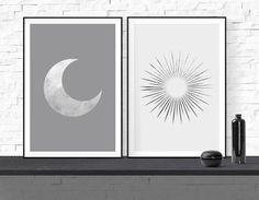 Sun and Moon Art Print Boho Decor Set of 2 Mid Century Modern | Etsy