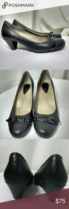 Ecco Heels NWOT Gorgeous Shoes! Beautiful pair of heels from Ecco!!! They are soft black leather with patent detail on the front. Coming from a smoke and pet-free closet.  New without tags condition. 2 inch heel. Ecco Shoes Heels