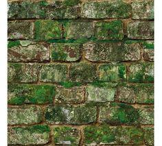 Photorealistic moss-covered brick wallpaper