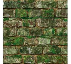 Photorealistic moss-covered brick wallpaper