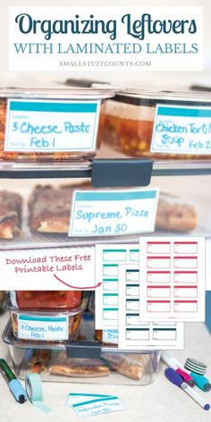 Need ideas for organizing the fridge, especially organizing leftovers? Check out these tips and download the free printable leftover labels to get organized. #OrganizeWithBrilliance #Ad