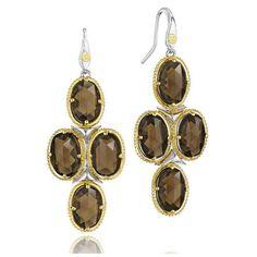 Tacori Midnight Sun Smoky Quartz Chandelier Earrings (15 400 SEK) ❤ liked on Polyvore featuring jewelry, earrings, special occasion jewelry, tacori earrings, long earrings, cocktail jewelry and chandelier jewelry