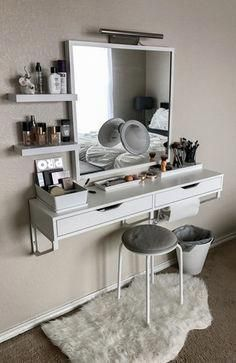 Best elegant small bedroom design ideas with stylish, art touching, and clean design. Small bedroom is best choice for your home with small space. Vanity Room, Vanity Decor, Mirror Vanity, Ikea Makeup Vanity, Wall Mounted Makeup Vanity, Vanity Bathroom, Small Bedroom Vanity, Makeup Vanity Organization, Ikea Vanity Table