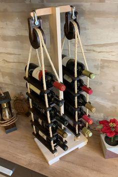 Wood Wine Holder, Wood Wine Racks, Wine Bottle Holders, Wine Rack Design, Wine Barrel Furniture, Pallet Wine, Home Bar Designs, Wine Decor, Woodworking Projects That Sell