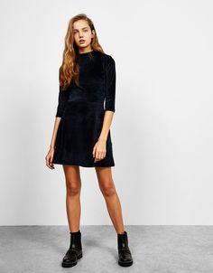 A-line velvet dress with 3/4 sleeves - Dresses - Bershka Japan