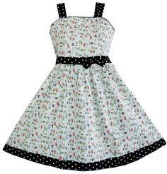 Girls Dress Green Tree Animal Print Children Clothing Sz 4-5