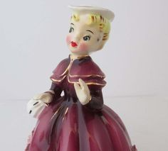 Victorian Napco Lefton Girl Figurine Wine Red Dress ESD Japan Lovely Collectible 4469B