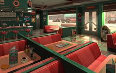 50s Fast Food 2013, Guillaume Beauchêne on ArtStation at https://www.artstation.com/artwork/50s-fast-food