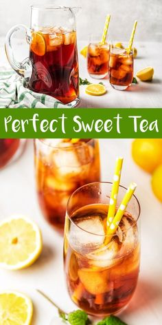 Ice cold freshly made sweet tea that is perfectly smooth and delicious. The secret ingredient cuts the acidity and makes the perfect southern-style sweet tea! Sweet Tea Recipes, Iced Tea Recipes, Best Cocktail Recipes, Drink Recipes, Dinner Recipes, Top Recipes, Meat Recipes, Recipies, Easy Homemade Recipes