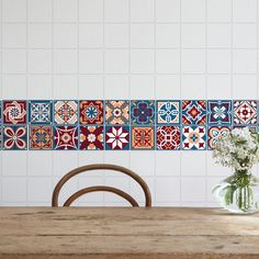 Red Kitchen Tiles, Mexican Tile Kitchen, Red Tiles, Peel And Stick Tile, Stick On Tiles, Wall Sticker, Wall Decals, Tiled Staircase, Bright Kitchens