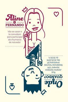Convite de Noivado - Aline e Fernando Tamara, Mini, Invitations, Comics, Illustration, Inspiration, Continue, Wedding Ideas, Graphic Design