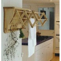 For drying herbs! Robbins Lumber Clothes Drying Rack - Wall Mounted - wood - Unfinished White Pine - x x (closed) Wall Mounted Drying Rack, Herb Drying Racks, Drying Rack Laundry, Wall Racks, Drying Herbs, Rack Shelf, Wooden Clothes Drying Rack, Decoration, Home Projects