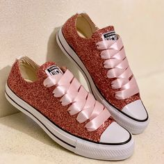 c246c002b055 Women s Sparkly Rose Gold Pink Glitter Converse All Stars Bride Wedding  Shoes sneakers