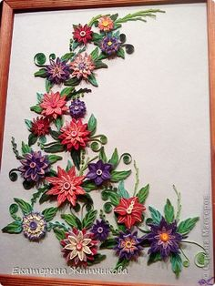 """Картина, рисунок, панно Квиллинг: Картина """"Цветочная фантазия"""" Бумага, Бумажные полосы День рождения. Фото 1"""