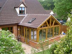 Oak framed conservatory sunroom - megan hadley - Re-Wilding Patio Design, House Design, Loft Design, Design Design, Modern Design, Rustic Sunroom, Sunroom Kits, Oak Framed Extensions, Hot Tub Room