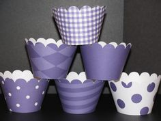 SALE Sale 12 Purple white Cupcake Wrappers by CupcakeExpress