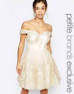 Image 1 of Chi Chi London Petite Bardot Lace Prom Dress