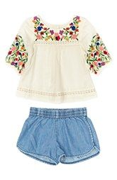 Peek Embroidered Peasant Top & Shorts (Baby Girls)