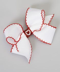 Love this Scarlet & White Glitter Heart Bow Clip by Picture Perfect Hair Bows on #zulily! #zulilyfinds