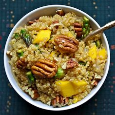 Vegan Gluten Free Spicy Quinoa, Asparagus, and Mango Salad with Pecans — Compassion Froot