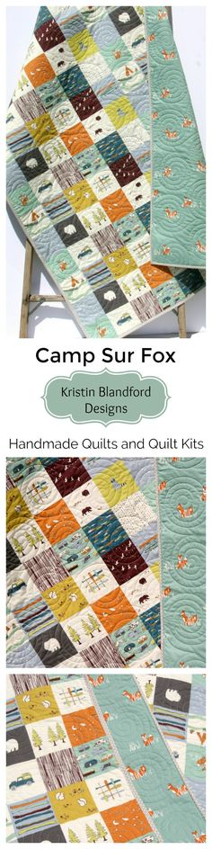 Camp Sur Big Sur Handmade Baby Quilt, Toddler Bed Quilt, Faux Patchwork, Beginner Quilt Kit, Cheater Panel Quick Easy Fun Sewing Project, Woodland Forest Boy Nursery Bedding, Bears Fox Camping Outdoors, Baby Quilt for Sale, Unique Modern Quilt by Kristin Blandford Designs #camping #quilting #diyhomedecor