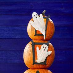 no carve pumpkin ideas - haunted house Pumpkin Ideas, A Pumpkin, Pumpkin Carving, Easy Halloween Crafts, Up Halloween, No Carve Pumpkin Decorating, House, Art, Art Background