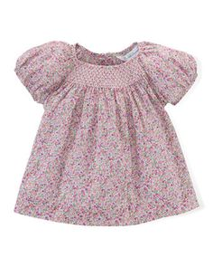 Ralph+Lauren+Childrenswear+at+Neiman+Marcus.  Floral-Print+Bubble-Sleeve+Lawn+Blouse,+Pink/Purple,+Size+9-24+Months+by+
