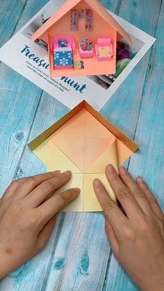 Diy Crafts Hacks, Diy Crafts For Gifts, Diy Home Crafts, Creative Crafts, Instruções Origami, Paper Crafts Origami, Cardboard Crafts, 5 Minute Crafts Videos, Craft Videos