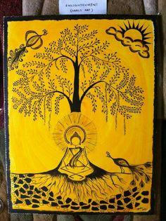 Items similar to Buddha's Enlightenment - Warli art print on Etsy Buddha Painting Canvas, Art Painting, Madhubani Art, Buddha Art Painting, Painting, Art, Tribal Art Drawings, Tribal Art Designs, Artwork Painting