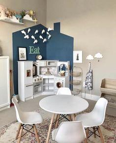 Kitchen Corner Preschool Ideas - Dana Ann Marie - Beyond Binary Toddler Playroom, Office Playroom, Playroom Design, Playroom Decor, Playroom Ideas, Kitchen Corner, Kitchen Redo, Mini Kitchen, Home Daycare