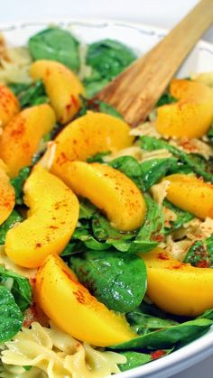 One Peachy Pasta Spinach Salad