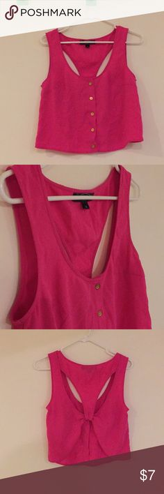 HOT PINK CROP TOP VEST Cute, hot pink crop top vest w/ an open back.  Can be worn with the buttons closed/open.  In excellent condition. Perfect for a night out. mandee Tops Crop Tops