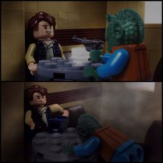 Han Shot First by @bricknosh - In this recreation of the classic scene from the original Star Wars film, Han Solo is shown finishing off the bounty hunter Greedo, BEFORE Greedo can get a shot off.  George Lucas might try to change his own film's history, but the fans won't let him. Greedo was threatening Han's life, so everyone's favorite space cowboy did what he had to do. He made sure he shot first. #LEGO #Minifigure #BrickWarriors #MOC #LEGOMOC #StarWars #HanSolo #Greedo #HanShotFirst
