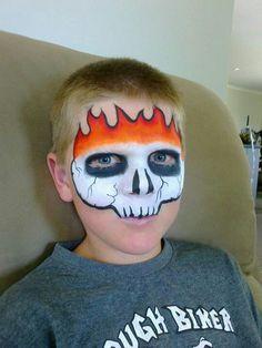 Skull on fire. Origineel.
