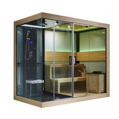 Monalisa dry steam sauna room with shower room integrated sauna house and shower house two-purpose sauna and shower enclosure Dimension: Steam Shower Cabin, Steam Shower Enclosure, Sauna Shower, Sauna Steam Room, Sauna Room, Basement Sauna, Shower Box, Steam Bath, Saunas