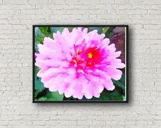 Bright Pink Dahlia - Printable - Watercolor - Instant Download -Pink Flowers ~  Watercolor Art Paintings ~ Valentine ~ Digital ~ Wall Art -       Edit Listing   - Etsy