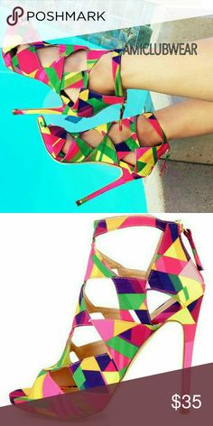 "New Multi Geometric Cut Out Sandals Heels Brand new in box; never worn out even tried on Liliana cut out high heeled ankle sandals with bright and vibrant multicolored geometric fabric print. 5"" stiletto heel and back zip. Size 9. Purchased from Amiclubwear for $60 but found a different pair of heels to go with my ensemble. Liliana Shoes Heels"