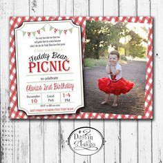 Teddy Bear Picnic Birthday Invitation