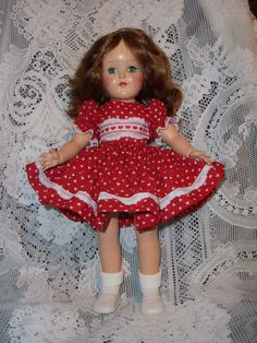 "Beautiful 16"" Ideal Toni doll--ready for Valentine's Day."