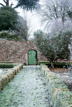 A frosty winter walled garden at Yarlington House